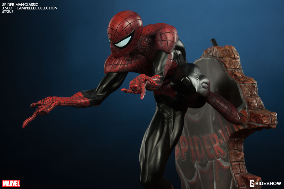 marvel spider man classic polystone statue by sideshow colle