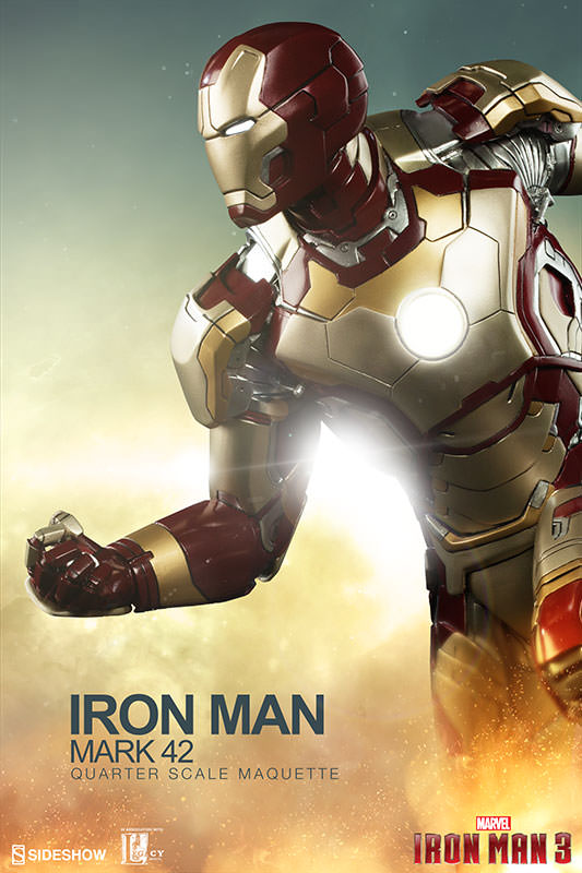 marvel iron man mark 42 quarter scale maquette by sideshow