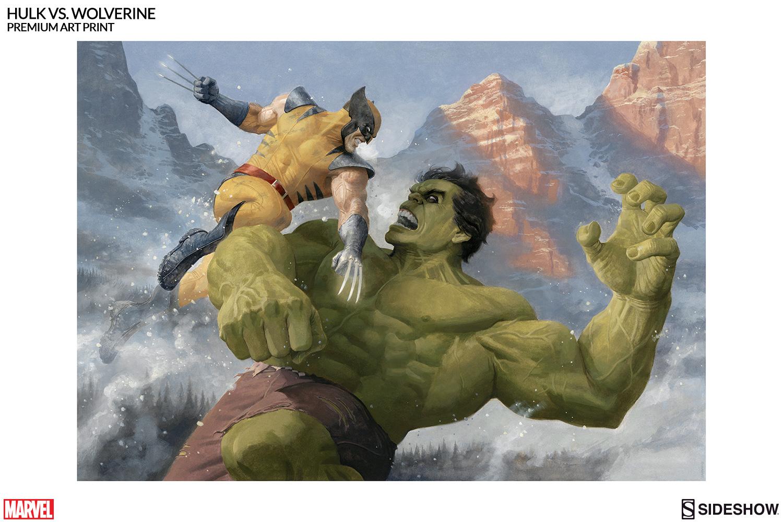 marvel hulk vs wolverine premium art print by sideshow
