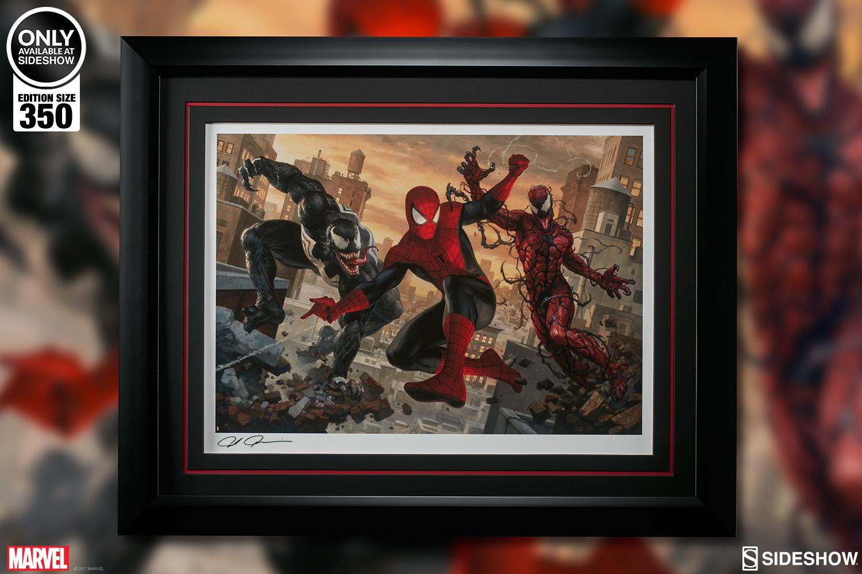 marvel spider man vs venom and carnage art print by sideshow