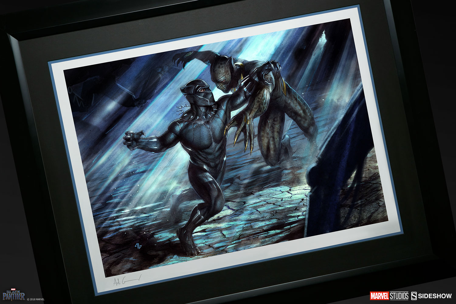 marvel black panther vs erik killmonger art print by sidesho sideshow collectibles. Black Bedroom Furniture Sets. Home Design Ideas