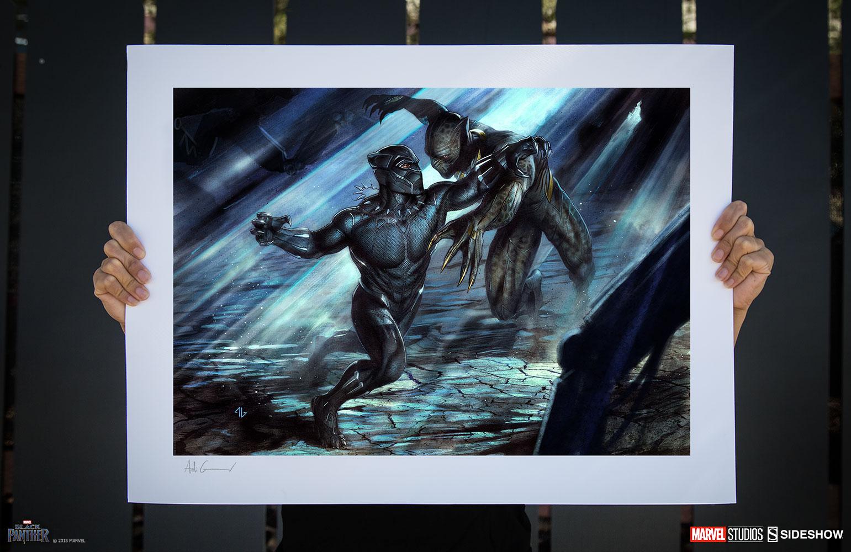 marvel black panther vs erik killmonger art print by sidesho sideshow collectibles. Black Bedroom Furniture Sets. Home Design Ideas