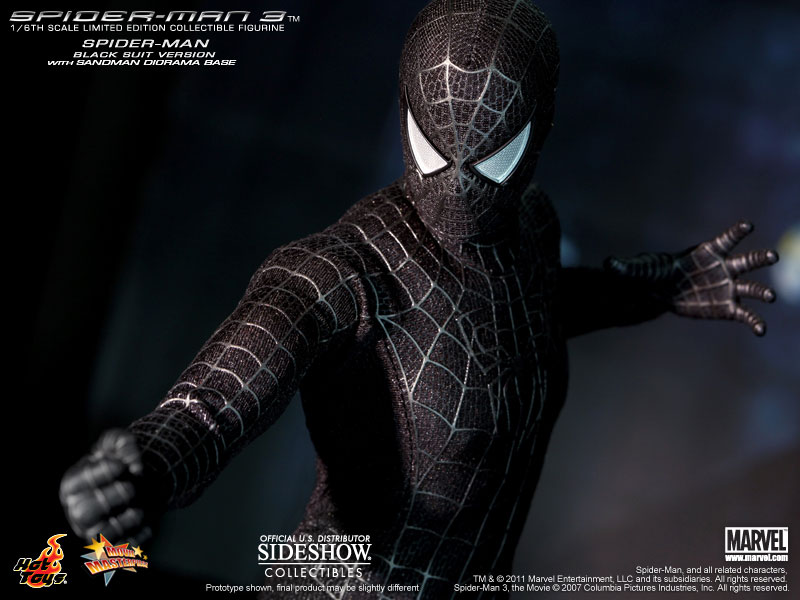 marvel spider man black suit version sixth scale figure by h