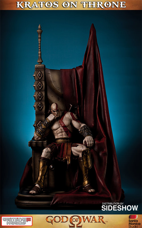 God Of War Kratos On Throne Statue By Gaming Heads