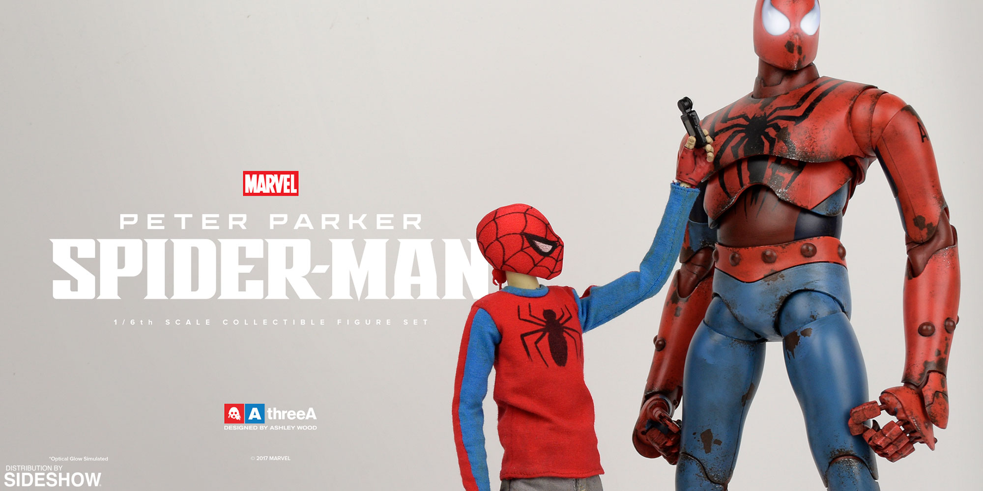 marvel peter parker and spider man sixth scale figure set by