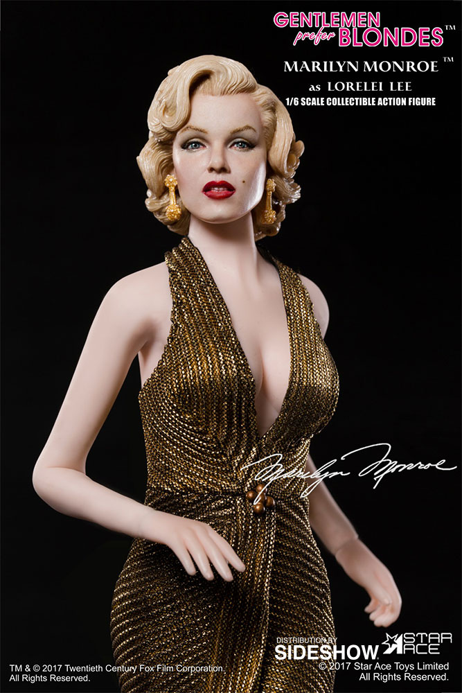 "STAR ACE - Marilyn Monroe from ""Gentlemen Prefer Blondes"" Marilyn-monroe-as-lorelei-lee-gold-dress-version-sixth-scale-star-ace-902838-02"