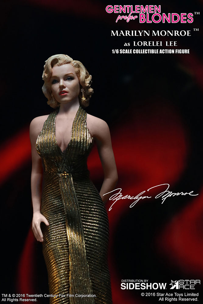 "STAR ACE - Marilyn Monroe from ""Gentlemen Prefer Blondes"" Marilyn-monroe-as-lorelei-lee-gold-dress-version-sixth-scale-star-ace-902838-04"