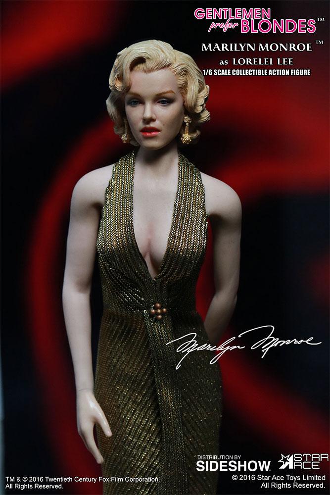 "STAR ACE - Marilyn Monroe from ""Gentlemen Prefer Blondes"" Marilyn-monroe-as-lorelei-lee-gold-dress-version-sixth-scale-star-ace-902838-05"