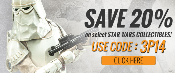 Save 20% on select STAR WARS collectibles. Use Code: 3P14 now.