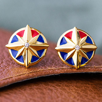 Captain Marvel Star Stud Earrings Collectible