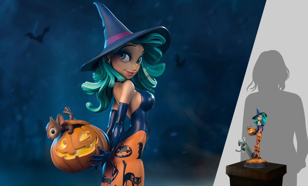 Pumpkin Witch Statue
