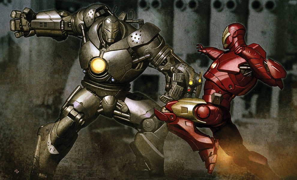 Iron Man vs Iron Monger Art Print