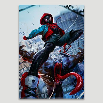 Ultimate Spider-Man Miles Morales HD Aluminum Metal Variant Art Print