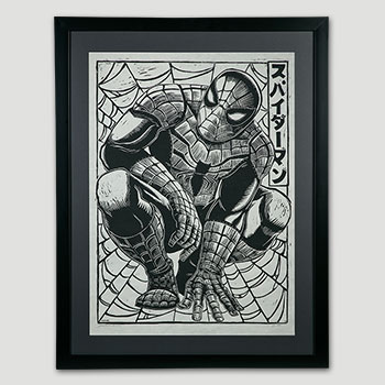 Spider-Man Linocut on Lokta Paper Art Print