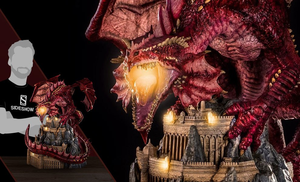 Klauth Red Dragon Fire Statue