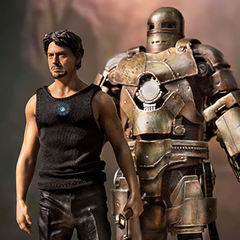 Iron Man Mark I and Tony Stark Statue