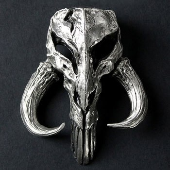 Mandalorian Skull Pewter Mini Sculpture Statue