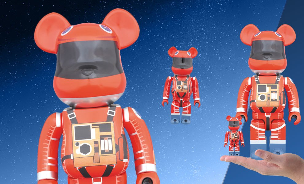 Bearbrick Space Suit Orange Version 100 and 400 Collectible Set