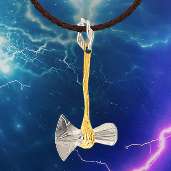 Avengers Infinity War Stormbreaker Silver and Gold Necklace Jewelry