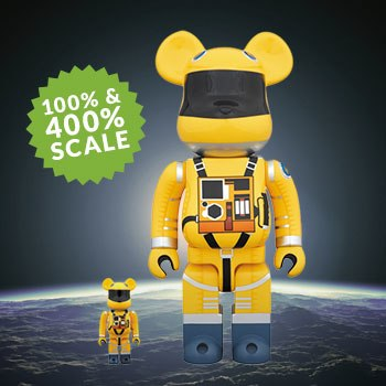 Bearbrick Space Suit Yellow Version 100 and 400 Collectible Set