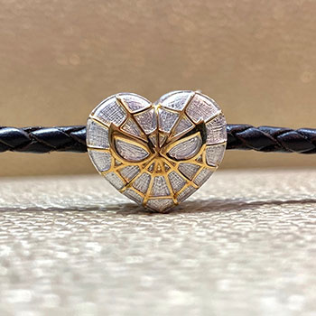 Spider-Heart Silver and Gold Bead - Large Jewelry