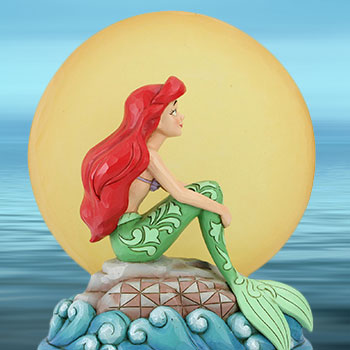 Ariel Sitting on Rock by Moon Figurine