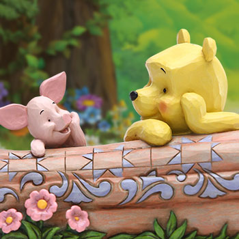 Pooh and Piglet by Log Figurine