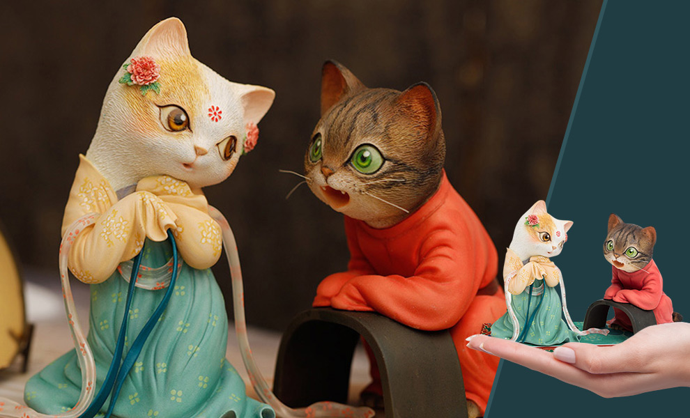 Red String Cat Figurine