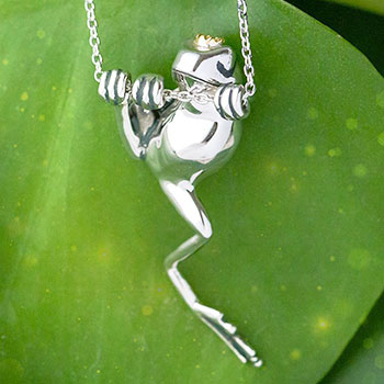 Crowned Frog Necklace Jewelry