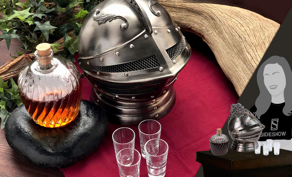 Medieval Knights Helmet Decanter Set Collectible Drinkware