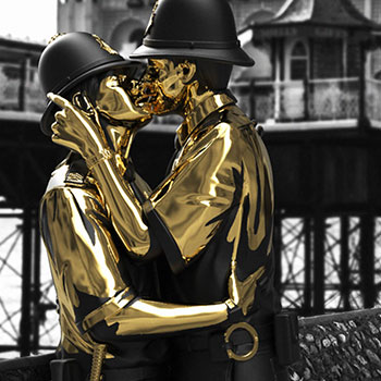 Kissing Coppers (Gold Rush Edition) Polystone Statue