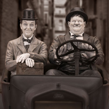 Laurel & Hardy on Ford Model T Statue