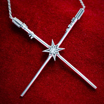 Luke Skywalker™ & Darth Vader™  Crossed Lightsaber Necklace Jewelry