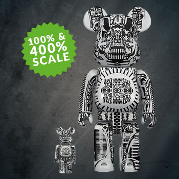 Be@rbrick H.R. Giger (White Chrome Version) 100% & 400% Collectible Set