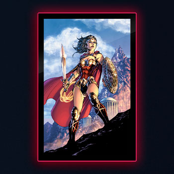 Wonder Woman Comic Cover LED Poster Sign (Large) Wall Light
