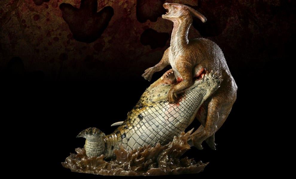 Gallery Feature Image of Deinosuchus VS Parasaurolophus Polystone Diorama - Click to open image gallery