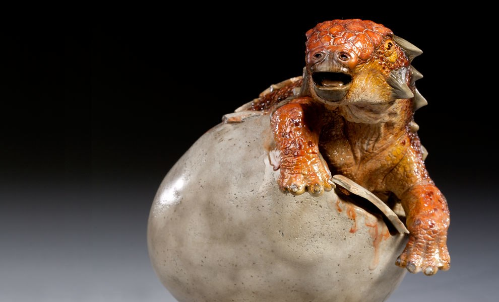 Gallery Feature Image of Euoplocephalus in Egg Maquette - Click to open image gallery