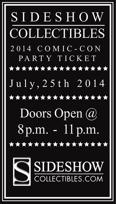 Sideshow Collectibles 2014 Sideshow Comic-Con Party Ticket Ticket