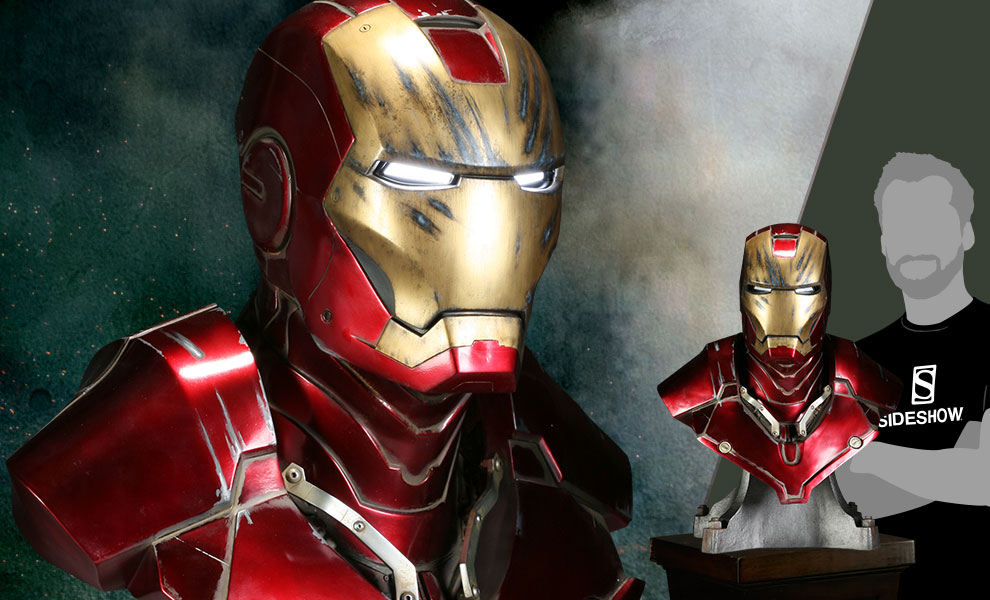 Gallery Feature Image of Iron Man - Battle Damaged Life-Size Bust - Click to open image gallery