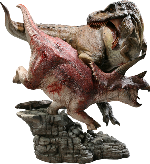 Sideshow Collectibles Tyrannosaurus Rex VS Triceratops Diorama Polystone Diorama