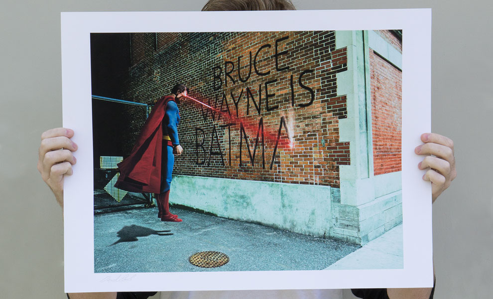 Gallery Feature Image of Graffiti War Superman Art Print - Click to open image gallery