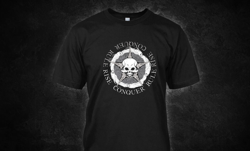Gallery Feature Image of Rise Conquer Rule T-Shirt Apparel - Click to open image gallery