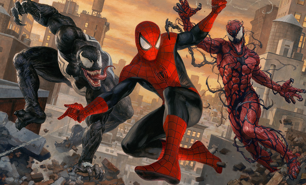 Gallery Feature Image of Spider-Man vs Venom and Carnage Art Print - Click to open image gallery