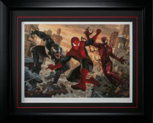 Spider-Man vs Venom and Carnage Art Print