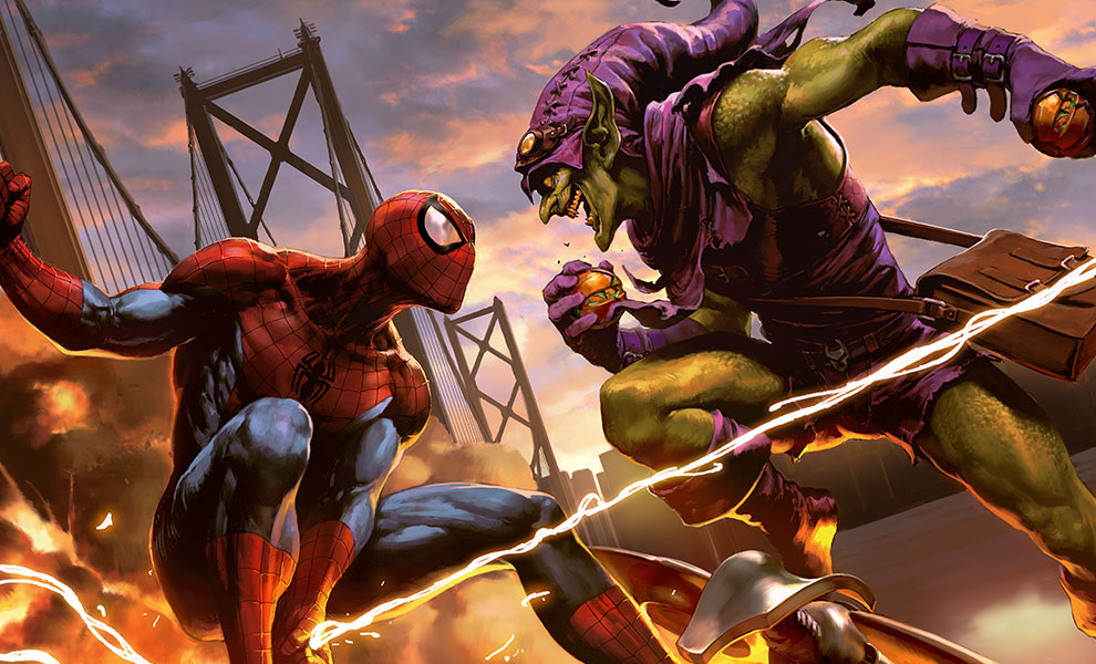 Gallery Feature Image of Spider-Man vs Green Goblin Art Print - Click to open image gallery