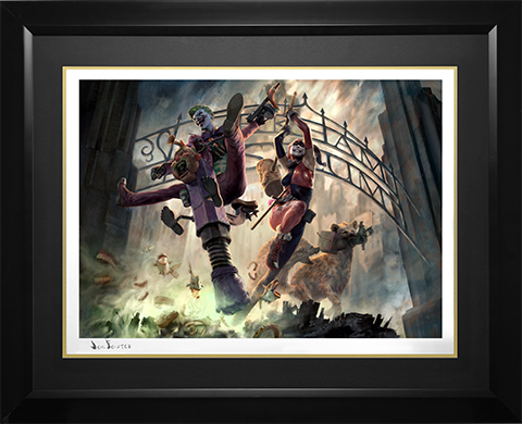 Sideshow Collectibles The Joker and Harley Quinn Arkham Asylum Breakout Art Print