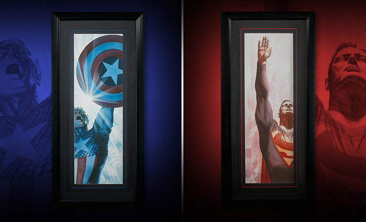 Gallery Feature Image of Superman Immortal and Captain America Triumphant - Framed Art Print - Click to open image gallery