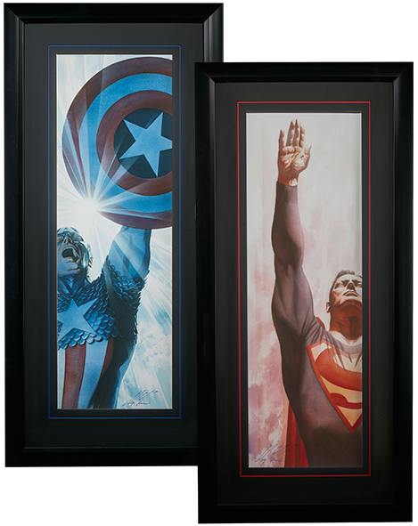 Alex Ross Art Superman Immortal and Captain America Triumphant - Framed Art Print