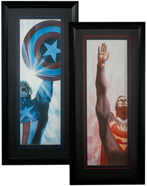 Superman Immortal and Captain America Triumphant - Framed Art Print