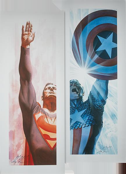 Alex Ross Art Superman Immortal and Captain America Triumphant - Unframed Art Print